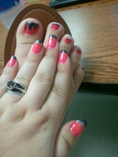 Black and pink nails and toes