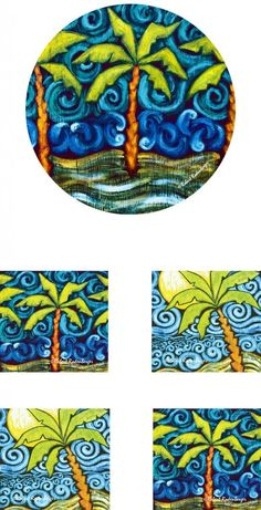 Useful and beautiful Art for the Table or Office by Robert Rodenberger   Bundle 5 Piece Home or Office - Palm Tree - Mousepad/Trivet and Four (4) Coasters Neoprene: