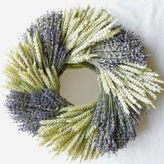 "Mirror-backed wreath of english lavender & green beardless wheat, as inspired by Amanda Docker's book ""An Englishwoman's Guide to Dried Flowers."