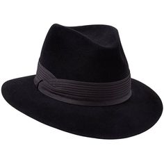 Penmayne of London - Siena Fedora Black Black Pleated Band (€305) ❤ liked on Polyvore featuring accessories, hats, band hats, fedora hat and ribbon hat