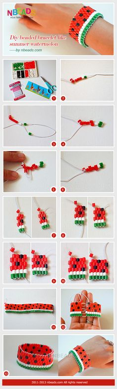 diy beaded bracelet like summer watermelon #diy #beads