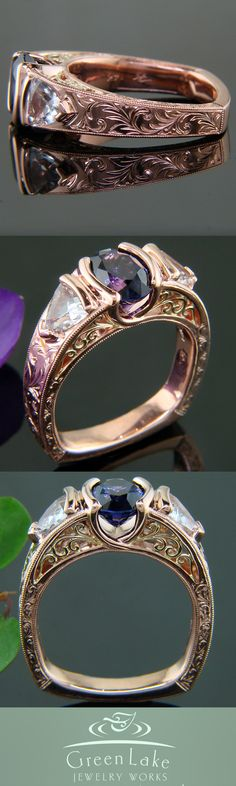 Estate-inspired hand engraved rose gold ring with yellow gold filigree in the side face, showcasing an oval-cut color change center sapphire that is flanked by 2 trillion-cut white sapphires. Green Lake Jewelry, Rose Gold Jewelry, Jewelry Accessories, Jewelry Design, Alternative Wedding Rings, Engagement Rings For Men, Vintage Diamond, Queen, Or Rose