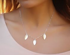 Three sterling silver 925 leaves hang on a dainty sterling silver chain. Simple and minimal everyday jewelry. Leaf Necklace, Gold Necklace, Everyday Necklace, Minimalist Jewelry, Girls Best Friend, Sterling Silver Necklaces, Autumn Leaves, Bridesmaid Necklaces, Anniversary