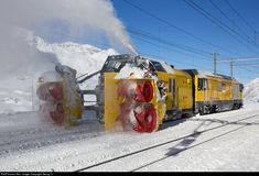 """The """"Beast of the Bernina"""" snowblower Xrot mt # 95404 is clearing track 2 of Ospizio Bernina station, shoved by diesellocmotive Gmf # 23403 """"Albula""""). Both vehicles, built by different builders, were designed by the NOSE company in Zürich. My Dream Car, Dream Cars, Grey Wallpaper Iphone, Snow Vehicles, Landscaping Equipment, Train Museum, Work Train, Swiss Railways, Railroad Photography"""