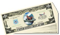 Military - Coast Guard Novelty Million Dollar Bill - 10 Count with Bonus Clear Protector and Christopher Columbus Bill *** See this great product.