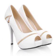 Zipper Peep Toe Heels