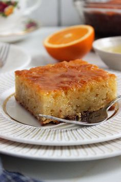A syrup cake made with phyllo and infused with orange flavour Greek Sweets, Greek Desserts, Greek Recipes, Vegan Recipes, Vegan Food, Syrup Cake, Freshly Squeezed Orange Juice, Greek Cooking, Walnut Cake