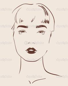 güzel bir kadın yüzü elle çizilmiş - Stok İllüstrasyon: 29944367