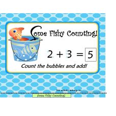 "FREE  File Folder Addition Activities: Adding with touch points, dots or any type of visual, increases a young child's ability to learn the concept of addition or adding on. This whimsical ""Fishy Counting"" file folder activity contains 10 pages of addition practice. For best quality, print using ""Landscape Setting"" on white card stock paper. This FREE file folder set includes: * Counting with dots visual guide * 16 visually enhanced addition problems * Counting worksheet * Counting Cards"