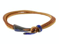 Hook and Loop Leather Bracelet - Antique Blue