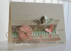 Stampin' Up! stamp set Notable Notations, Bitty Butterfly punch, Ruffle stretch trim ribbon
