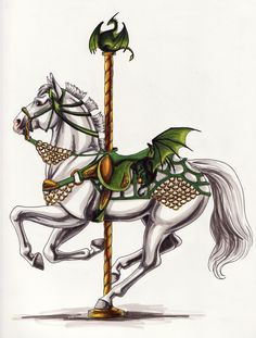 Carousel Graphics | dragon carousel by lunatteo traditional art drawings illustration ...