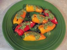Cream Cheese and Goat Cheese Stuffed Mini Sweet Peppers with Cilantro Pesto