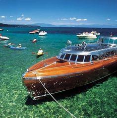 This boat is awesome, Lake Tahoe Thunderbird Kirkland Yacht Detailing - DBA Gig Harbor Yacht Detailing - Maninoa K Thompson - Power Boats, Speed Boats, Riva Boot, Classic Wooden Boats, Vintage Boats, Old Boats, Love Boat, Boat Design, Yacht Design