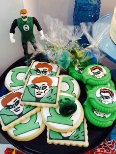 Green Lantern cookies at a superhero birthday party! See more party planning ideas at CatchMyParty.com!
