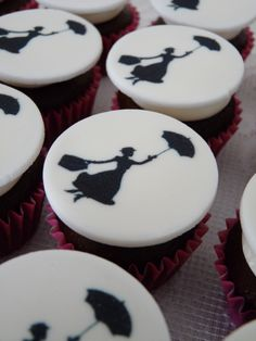 Mary Poppins cupcakes for my Mum's birthday.    #cupcakes #poppins
