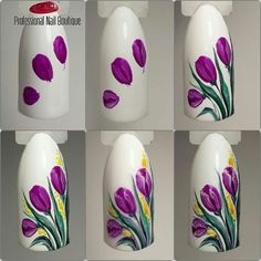 30 easy floral nail art ideas perfect for spring A bouquet of tulips also isn't as hard as you think. Take it step by step people. We've gathered some of the finest nail art designs. You should definitely check them all out. Coupon Michaels Arts And Craft Floral Nail Art, Nail Art Diy, Easy Nail Art, Cool Nail Art, Diy Nails, Cute Nails, Manicure, Tulip Nails, Flower Nails