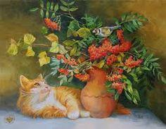 Картинки по запросу кот рисунок маслом