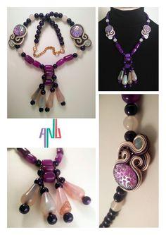 Handmade ANU Jewelry,  Necklace Soutache, Quartz, Czech Crystal, Beads