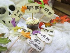 Items similar to Halloween Gothic Party Cupcake Toppers Party Picks - Set of 18 - Eat Me Bite Me If You Dare - Choose Ribbon Color - Halloween Wedding on Etsy - Cupcake Party, Birthday Cupcakes, 1st Birthday Parties, Cupcake Cakes, Happy Halloween, Halloween Party, Halloween Items, Ribbon Colors, Cupcake Toppers