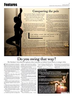 """Conquering the Pole,"" Features Editor and layout, The Charlatan Thigh Wrap, Pole Dancing, Journalism, That Way, Brittany, Editor, Thighs, Layout, Social Media"