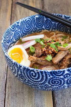 Spicy Miso Ramen with Pan-Fried Pork http://www.redshallotkitchen.com/2014/04/spicy-miso-ramen-with-pan-fried-pork.html