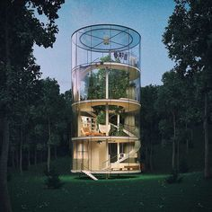 A mature fir tree would be enclosed at the centre of this conceptual tubular glass house. via dezeen- gorgeous, home, design