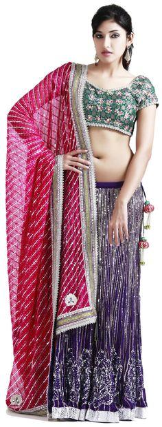 Purple georgette lehenga with pink dupatta - #LEHENGAS - WOMEN'S WEAR