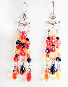 Earrings, Halloween earrings, Halloween jewelry, Halloween, crystal earring, orange crystal, yellow crystal, black crystal, teardrop crystal by EarringsBraceletsEtc on Etsy