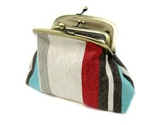 Striped Linen Kiss Lock Coin Purse Wallet Clutch Gift for Women Beige Blue Red Yellow Cream Taupe Gold Metal Frame Taupe, Beige, Great Gifts For Women, Yellow Cream, Coin Purse Wallet, Striped Linen, My Etsy Shop, Purses, Metal