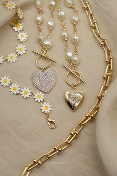 18K Gold Filled Gold Necklace Gold Pearl Necklace, Locket Necklace, Pearl Chain, Gold Filled Jewelry, Heart Of Gold, Link Bracelets, Gold Chains, 18k Gold, Pearls