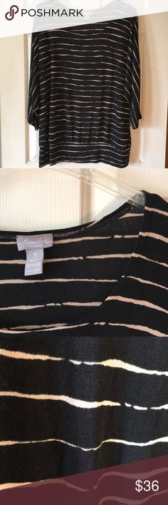 """Chico's Travelers Dolman Sleeve Top size 3 Chico's Travelers Dolman Sleeve Top size 3   This is a great top!  The banded waist is a bit too big for my hipless frame but would look great if you have curves.    Black with tan stripes. Bust: 24"""" Waist: 21"""" Measurements taken flat and unstretched Chico's Tops Blouses"""