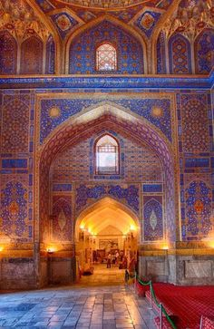 A Mosque in Samarkand, Uzbekistan - Take a journey through Central Asia and visit Samakarkand, Dushanbe and Tashkent, the bread rich city . Islamic Architecture, Beautiful Architecture, Beautiful Buildings, Art And Architecture, Architecture Details, Places Around The World, Around The Worlds, Beautiful World, Beautiful Places