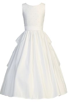 Back Ruffle Skirting & Pearl Beads Matte Satin First Holy Communion Dress (Girls Sizes 5 to 14)