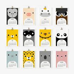SALE 20 OFF 2015 Calendar Cute Animal 4 x 6 or 5 x 7 by loopzart