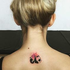 Cute Watercolor Panda Back Tattoo Idea