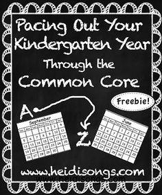 A Kindergarten Pacing Guide for the Common Core- Freebie! from Heidi Butkus of Heidi Songs Kindergarten Assessment, Kindergarten Lesson Plans, Preschool Curriculum, Teaching Kindergarten, Kindergarten Common Core, Teaching Ideas, Kindergarten Schedule, Kindergarten Posters, Preschool Prep