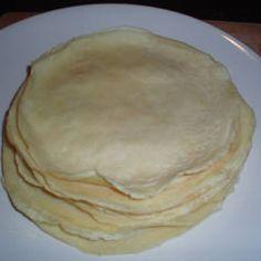 Manicotti Shells ~  makes 4 servings     Ingredients:  2 cups all-purpose flour   2 cups water   6 eggs   1/4 teaspoon salt