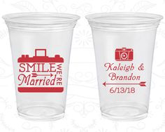Smile We are Married, Cheap Disposable Cups, Arrow Wedding, Wedding Party, Camera, Soft Sided Cups (361)