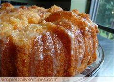 ORANGE JUICE CAKE: 1 box of yellow cake mix, 1 small box of orange gelatin, 1 cup orange juice (the kind you drink), 3/4 cup oil, 4 eggs, 2-3 teaspoons orange zest, Orange Glaze, 1 cup powdered sugar, 3 tablespoon orange juice, 1 teaspoon orange zest.