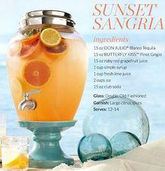 Drink dispenser for summer entertaining and backyard beach parties: http://beachblissliving.com/beach-summer-drinks-tropical-blue/