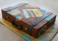 I like the map covered board. Suitcase Cake, Dear Future Husband, Cake Board, Unique Cakes, Retirement Parties, Suitcases, Cupcake Cookies, Let Them Eat Cake, You And I