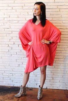 YK Poncho Dress Coral
