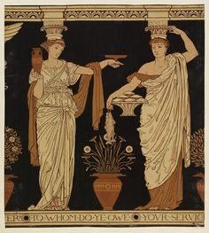 Portion of 'Alcestis' wallpaper frieze, depicting two caryatids, one labelled 'HOSPITALITA' holding a dish and a vase, the other labelled 'P...1876