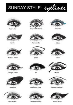 Eyeliner inspiration cheat sheet.