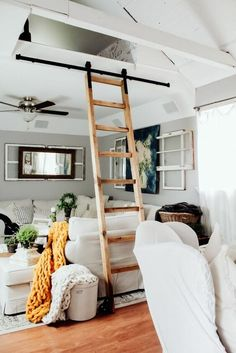 We've been planning this project for years! We have a nook above our living space that was not functinoal as it was not accessible. I've been dreaming of a slid… Library Ladder, Ladder, Loft Ladder, Diy Home Decor, Home, Sliding Ladder, Cheap Diy Home Decor, Home Decor, Cozy Room Decor