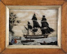 Reverse painting on glass ship portrait, mid 19th c.