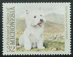 West Highland White Terrier Dog Handmade by PassionGiftStampArt