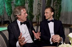 Hugh Laurie (L) and Tom Hiddleston attend AMC Networks Emmy Party at BOA Steakhouse on September 18, 2016 in West Hollywood, California
