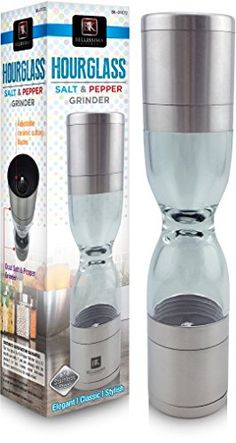 Authentic Deluxe Hourglass 2 in 1 Salt & Pepper Grinder. It's a Salt Mill and Pepper Mill Set in One Unit, ,